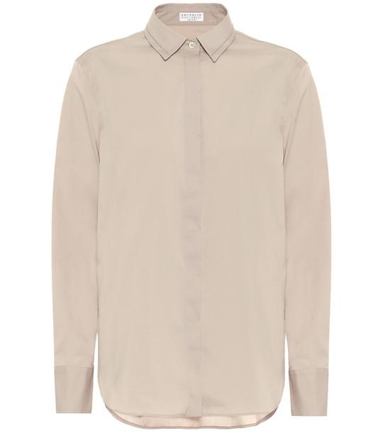 Brunello Cucinelli Cotton-blend shirt in grey
