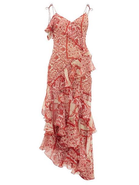 Raquel Diniz - Stella Floral-print Silk-georgette Dress - Womens - Red White