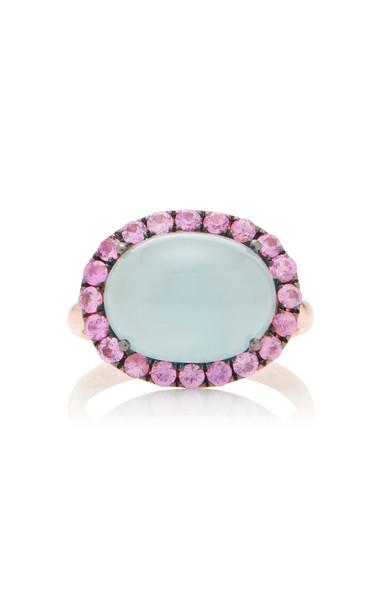 Rosa de la Cruz 18K Rose Gold, Aquamarine And Sapphire Ring Size: 6.5 in blue