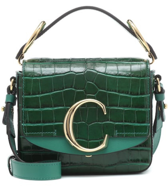 Chloé Chloé C Mini leather shoulder bag in green