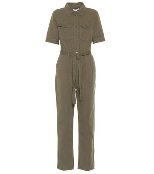 Frame Belted cotton and linen jumpsuit in green