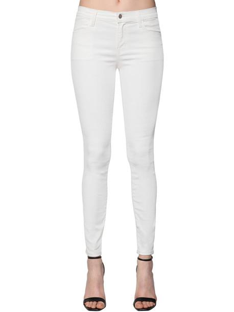 J BRAND Super Skinny Coated Cotton Denim Jeans in white