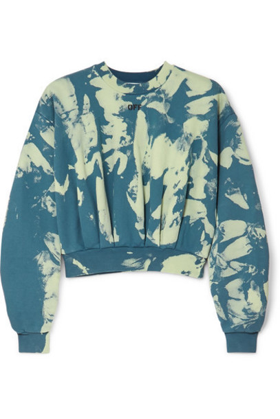 Off-White - Cropped Tie-dyed Cotton-jersey Sweatshirt - Green
