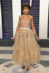 shoes,pumps,celebrity,lace dress,lace,kerry washington,oscars,gown,red carpet dress,nude,nude dress