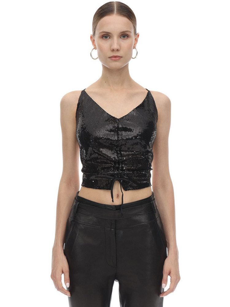AMEN Embellished Open Back Lace-up Top in black