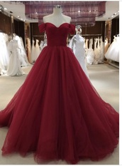 dress,wine red ball gown off the shoulder  rr