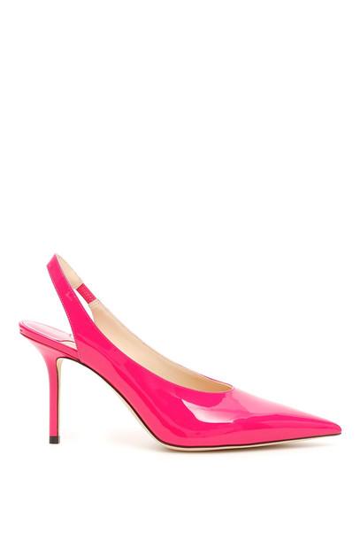 Jimmy Choo Patent Ivy 85 Slingbacks in pink / fuchsia