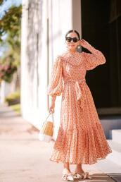 hallie daily,blogger,dress,bag,shoes,jewels,sunglasses,orange dress,maxi dress