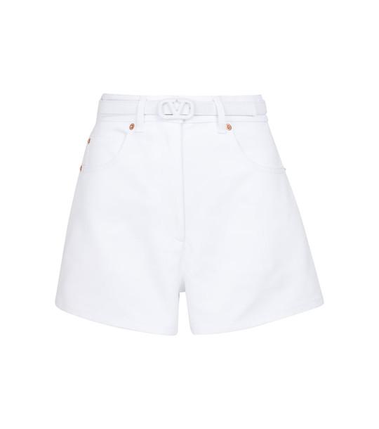 Valentino VLOGO denim shorts in white