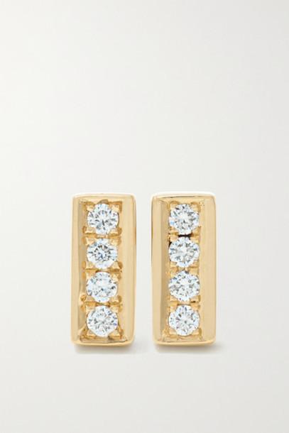 Ileana Makri - Mini Bar 18-karat Gold Diamond Earrings