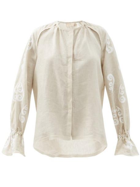 Themis Z - Peacock Belted Linen Shirt - Womens - Beige