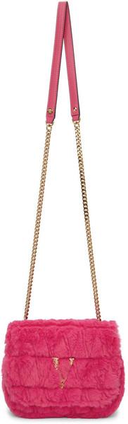 Versace Pink Faux-Fur Virtus Shoulder Bag in gold