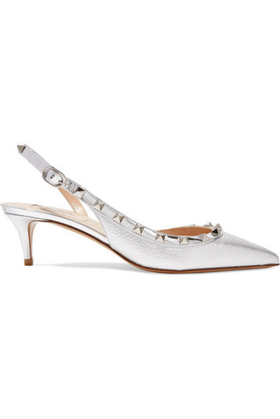 Valentino - Valentino Garavani The Rockstud 50 Metallic Textured-leather Slingback Pumps - Silver