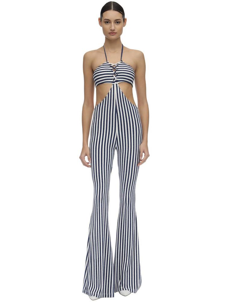 FILLES A PAPA Lurex Jersey Jumpsuit W/ Cutout in navy / white