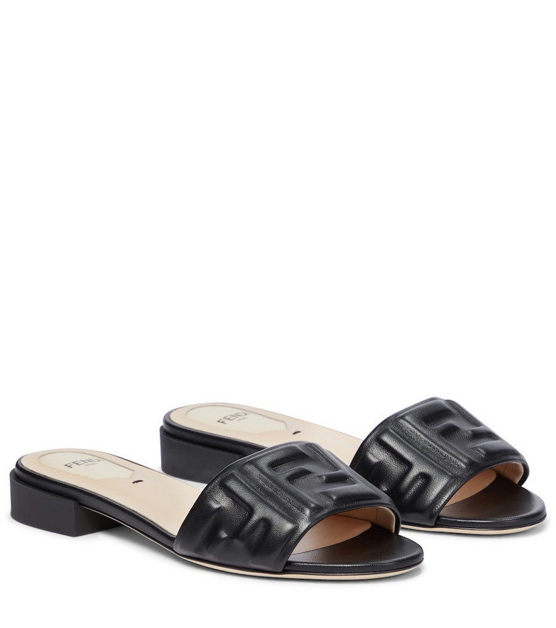 Fendi Embossed FF leather sandals in black