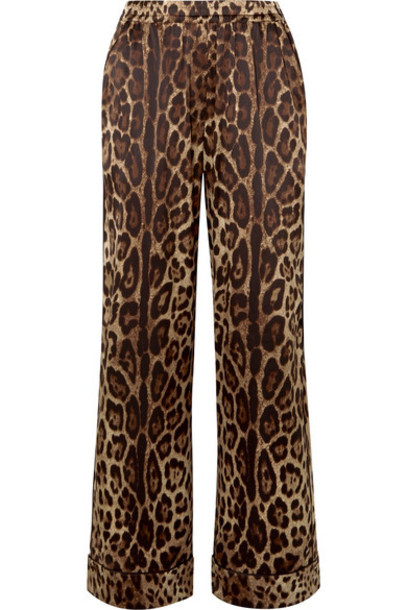 Dolce & Gabbana - Leopard-print Stretch-silk Satin Wide-leg Pants - Brown