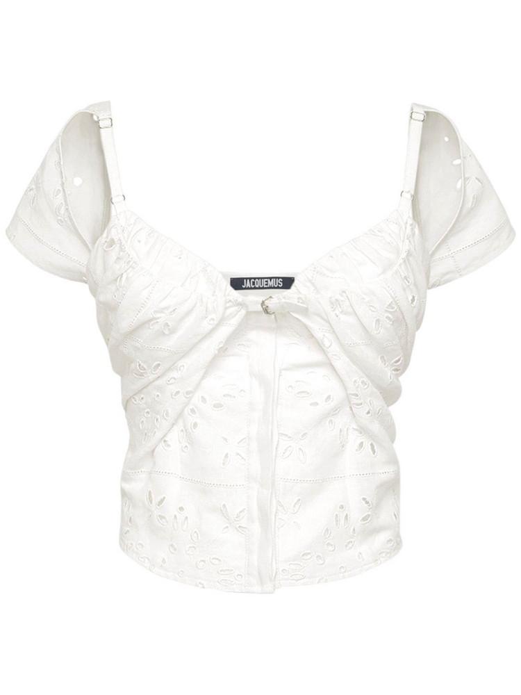 JACQUEMUS Draped Linen Blend Top W/ Straps in ecru