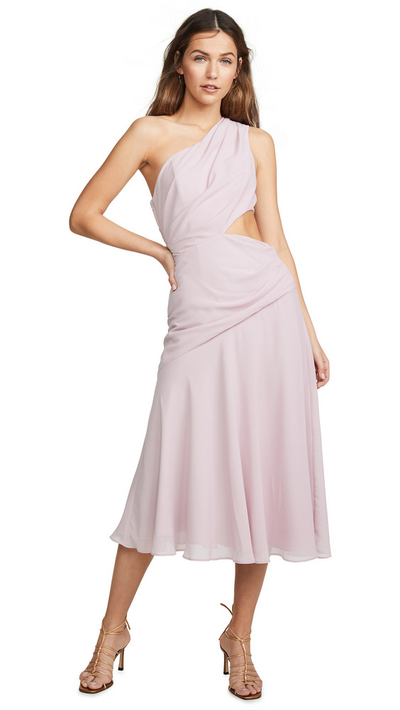 Fame and Partners One Shoulder Draped Dress in lilac