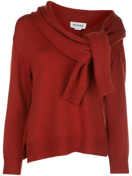 Monse tie-sleeve neck jumper in red