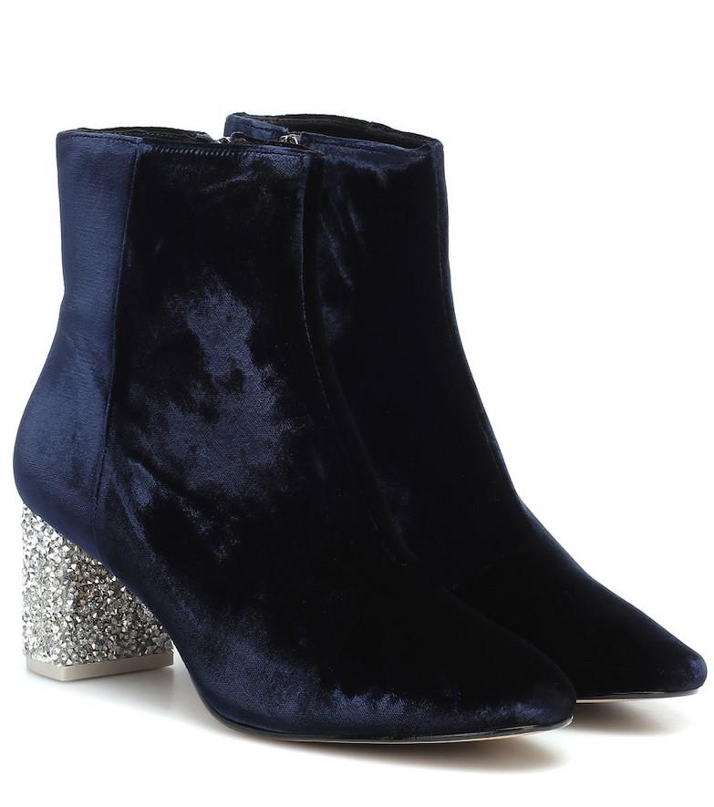 Sophia Webster Toni embellished velvet ankle boot in blue