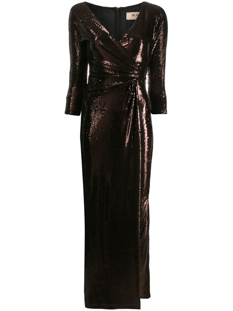 Blanca Vita sequin wrap style dress in brown
