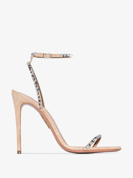 Aquazzura nude Very Vera 105 crystal strap sandals in metallic
