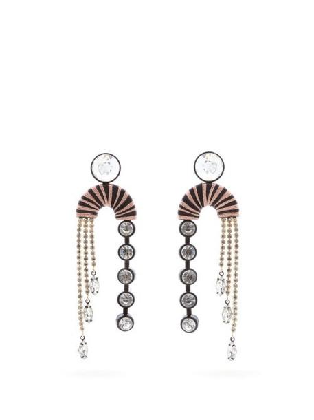 Maryjane Claverol - Alpha Crystal Embellished Drop Earrings - Womens - Pink Multi