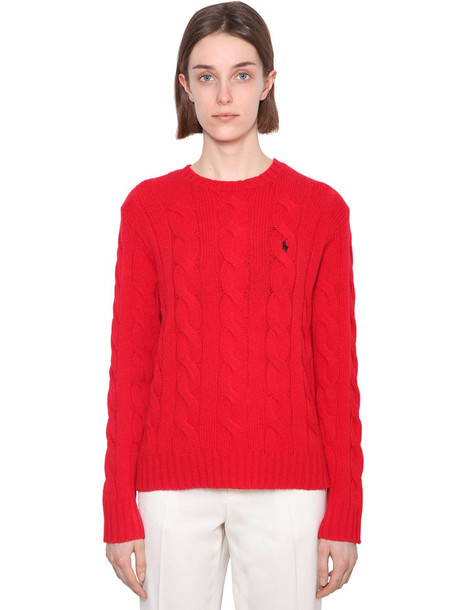 POLO RALPH LAUREN Merino Wool & Cashmere Cableknit Sweater in red