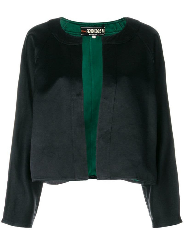 Fendi Pre-Owned collarless cropped jacket in black