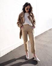 pants,high waisted pants,straight pants,slingbacks,white sweater,coat