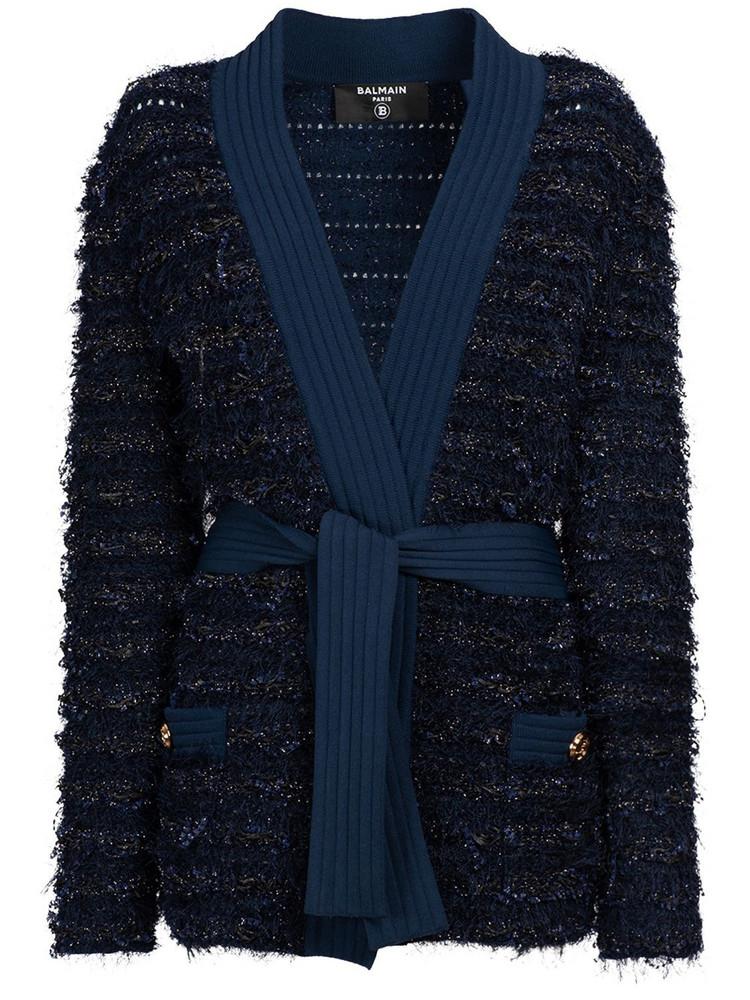 BALMAIN Knit Tweed Long Cardigan W/belt in blue