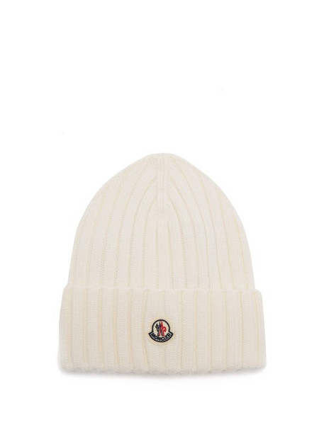 Moncler - Logo-patch Merino-wool Beanie - Womens - Cream