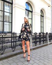 dress,floral dress,black mini dress,long sleeve dress,black sandals