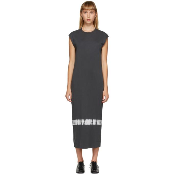 Raquel Allegra Grey Tie-Dye Column Dress in charcoal
