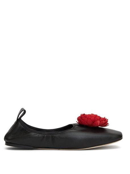 Loewe - Flower-appliqué Leather Pumps - Womens - Black Red