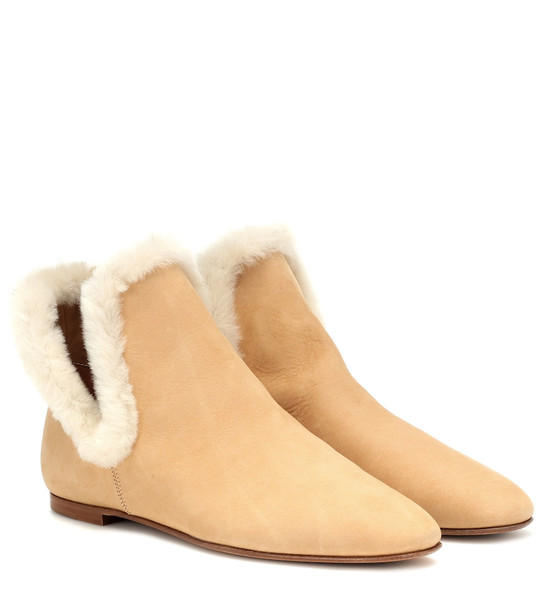The Row Eros suede ankle boots in beige