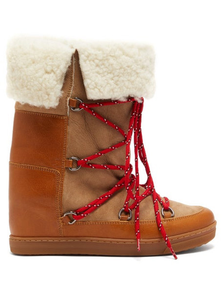 Isabel Marant - Nowly Shearling And Leather Boots - Womens - Tan Multi