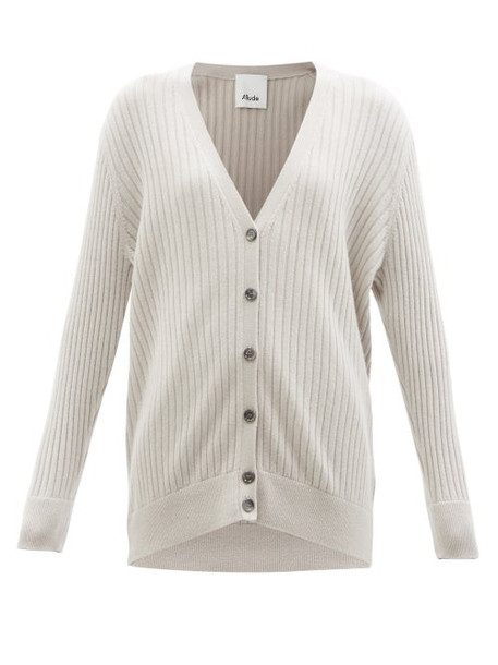 Allude - V-neck Ribbed-cashmere Cardigan - Womens - Light Grey