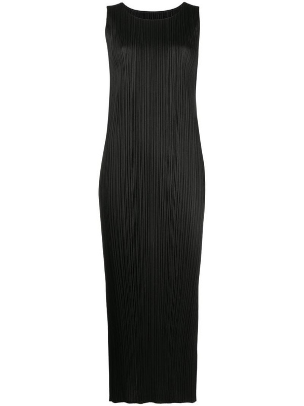 Pleats Please Issey Miyake sleeveless pleated dress in black