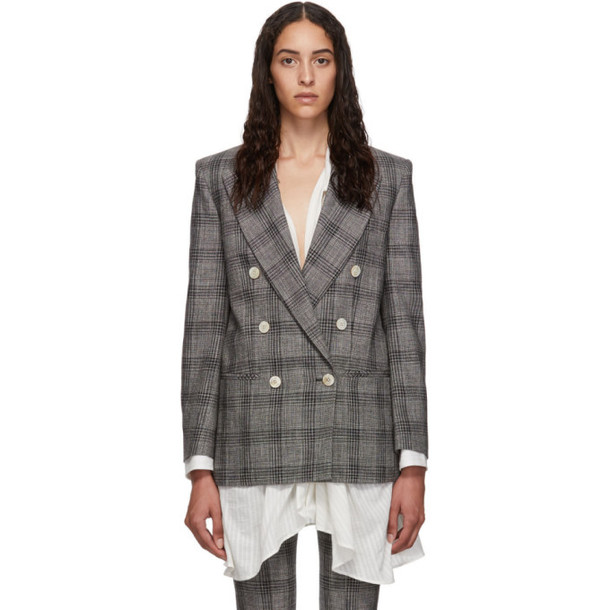 Isabel Marant Black and White Check Dallin Blazer