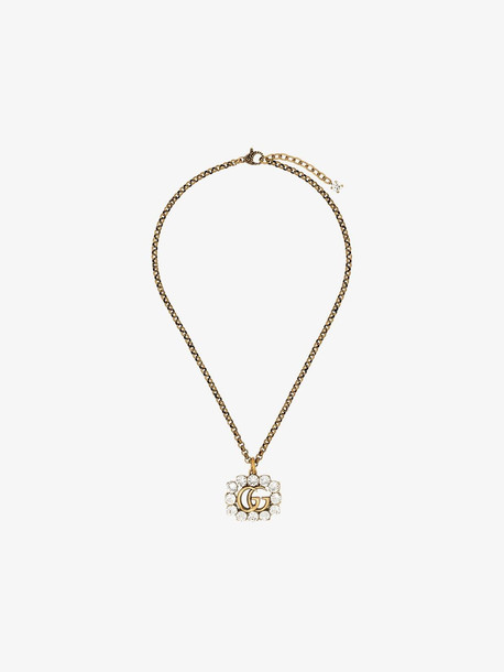 Gucci Gold-plated GG logo crystal frame necklace