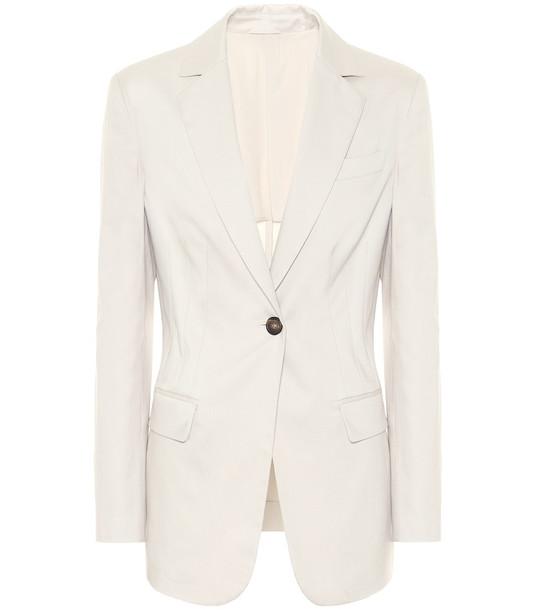 Brunello Cucinelli Single-breasted cotton blazer in beige