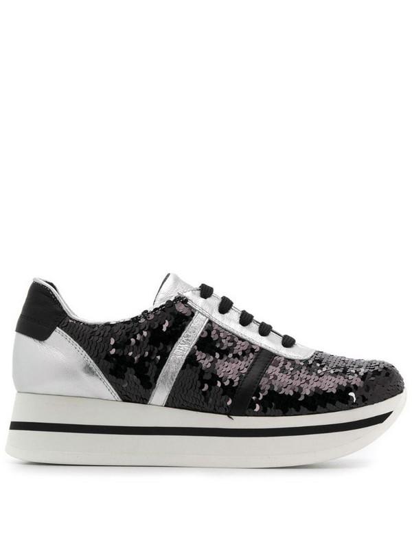 Tosca Blu sequinned platform sneakers in black
