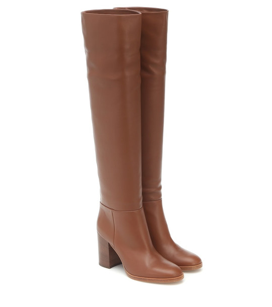 Gianvito Rossi Melissa leather knee-high boots in brown