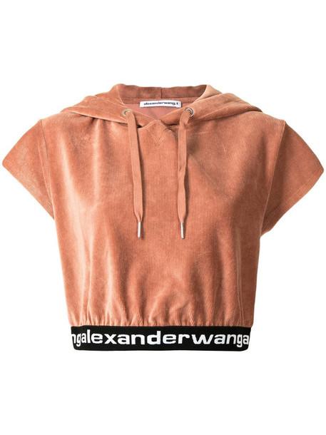 Alexander Wang cropped corduroy hoodie in red