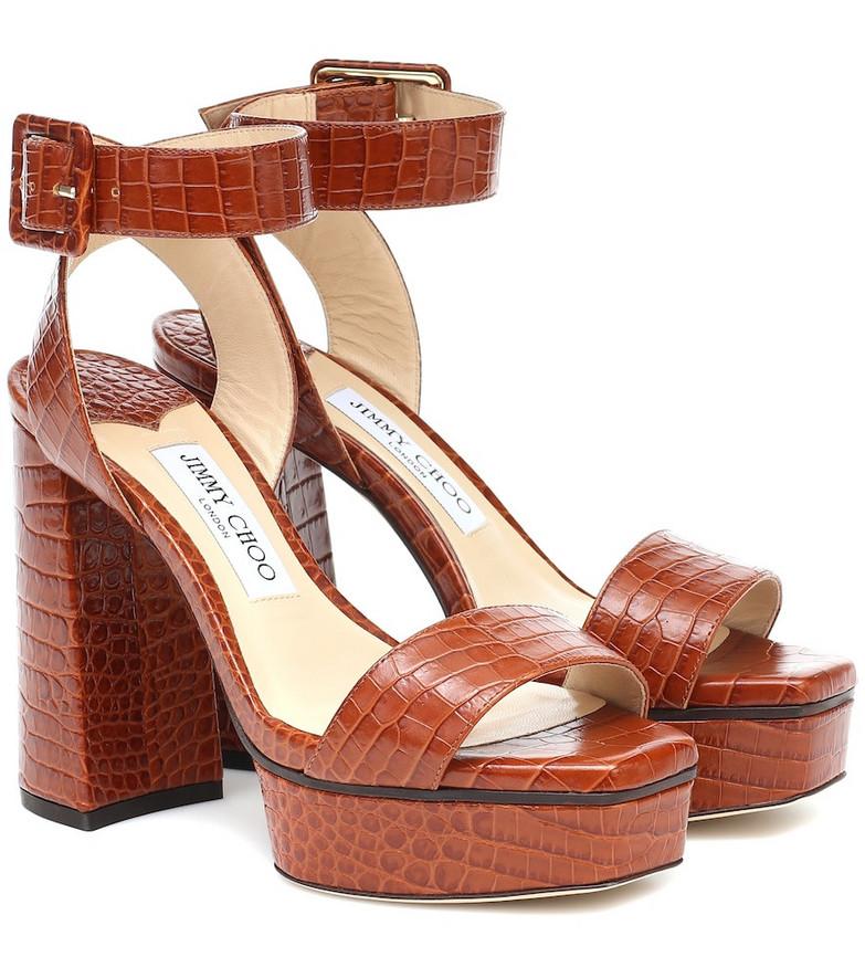 Jimmy Choo Jax 115 croc-effect sandals in brown