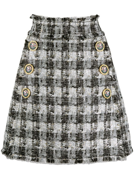 Dolce & Gabbana checked A-line skirt in white