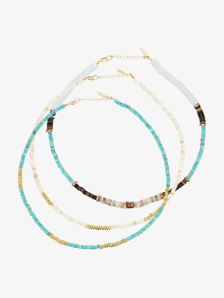 ALL THE MUST gold-plated beaded necklace set in white