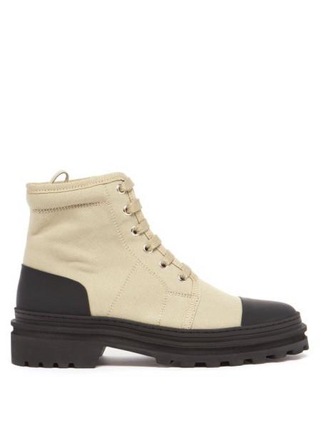 A.P.C. A.P.C. - Faustine Lace-up Canvas Ankle Boots - Womens - Beige