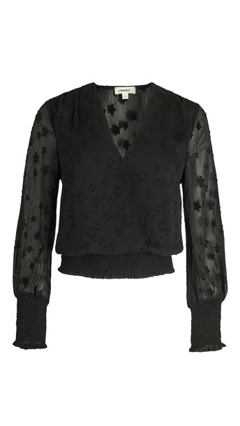 L'AGENCE Dulce Cross Front Blouse with Smock in black